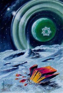 Der Asteroid mit dem Artefakt vorbeifliegt Exoplaneten. by Victor Filippsky