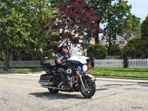 Motorcycle Police Officer by Susan Savad