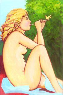 Girl with a Reed Pipe & Bird. von Roman Grinko