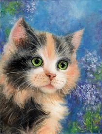 Kitty on blue von Galyna Schaefer