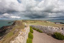 Pathway to cross on Llanddwyn island, Anglesey, Gwynedd, Wales, United Kingdom by Kevin Hellon
