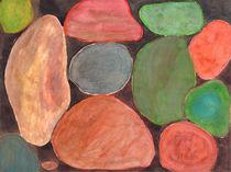 Lovely colorful Stones on dark Background  von Heidi  Capitaine