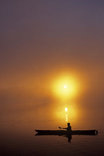 Silhouetted Kayaker  by Jim Corwin