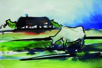 Reetdachhaus mit Kuh von Sonja Jannichsen