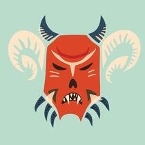 Evil Horned Demon Mask von Boriana Giormova