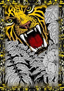 Wild Tiger Roar Doodle Art by bluedarkart-lem