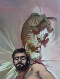 Bearded man with cat by Jakub Godziszewski