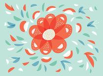 Whimsical Decorative Red Flower by Boriana Giormova
