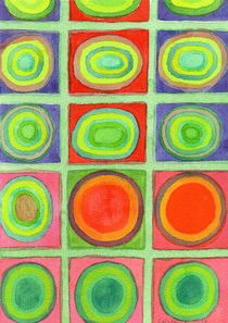 Green Grid filled with Circles and intense Colors  by Heidi  Capitaine