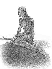 die kleine Meerjungfrau in s/w Art Deko von assy