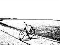 Küstenlandschaft mit Fahrrad by Detlev Kluin