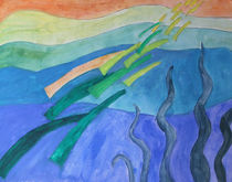 Abstraktes Motiv mit Wasser vermalbare Ölfarbe by Eva Dust