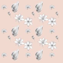 Flowers, Leaves and Seeds Hand Drawn Nature Pattern von Katri Ketola