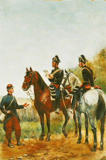 Police Officers on an Inspection Tour Checking a Serviceman in 1885  von Paul Emile Leon Perboyre