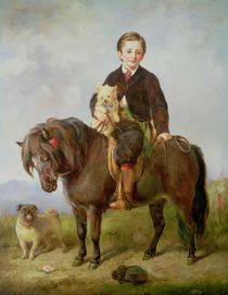 John Samuel Bradford as a boy seated on a shetland pony with a pug dog by Gourlay Steel