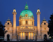 Karlskirche at night by Johann Fischer von Erlach