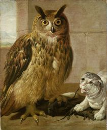 Eagle Owl and Cat with Dead Rats  by Johann Heinrich Roos