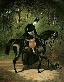 The Rider Kipler on her Black Mare  by Alfred Dedreux