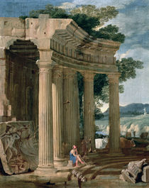 Landscape with ruins and a shepherd  von Jean Lemaire