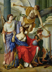 Allegory of the Regency of Anne of Austria  von Laurent de La Hire or La Hyre