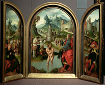 Triptych of the Cleansing of Naaman: the centre panel depicts Naaman by Cornelis Engelbrechtsen