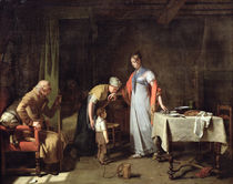Young Woman Helping an Unfortunate Family  by Martin Drolling