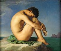 Naked Young Man Sitting by the Sea by Hippolyte Flandrin