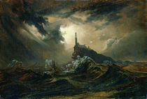 Stormy sea with Lighthouse  by Karl Blechen