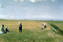 Children and Young Girls picking Flowers in a meadow north of Skagen  by Michael Peter Ancher