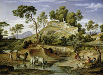Landscape with Shepherds and Cows and at the Spring by Joseph Anton Koch