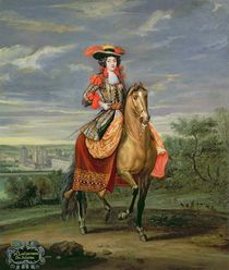 La Comtesse de Soissons Riding with a View of the Chateau de Vincennes  by Jean-Baptiste Martin