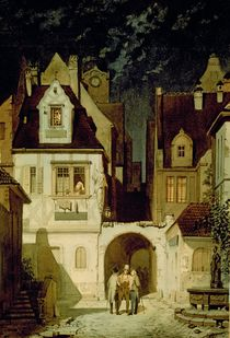 A Corner of a German Town by Moonlight  by Karl Spitzweg
