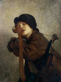 The Little Violinist Sleeping by Antoine Auguste Ernest Herbert or Hebert
