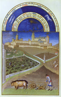 Fascimile of March: Peasants at Work on a Feudal Estate by Limbourg Brothers