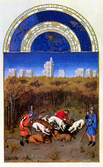Fascimile of December: hunting wild boar by Limbourg Brothers