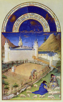 Fascimile of July: Harvesting and Sheep Shearing by Limbourg Brothers