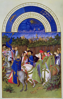 Facsimile of May: Courtly Figures on Horseback von Limbourg Brothers