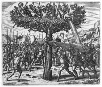 Indians in a Tree Hurling Projectiles at the Spanish  by Theodore de Bry