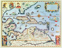 Map of the Caribbean islands and the American state of Florida  by Theodore de Bry