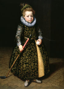 Portrait of a four-year old boy with club and ball von Paulus Moreelse