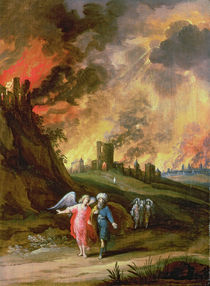 Lot and His Daughters Leaving Sodom  by Louis de Caullery