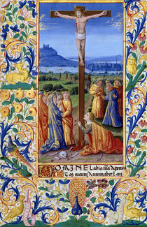 Ms Lat. Q.v.I.126 f.84v The Crucifixion by Jean Colombe