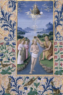 Ms Lat. Q.v.I.126 f.88v Baptism of Christ by Jean Colombe