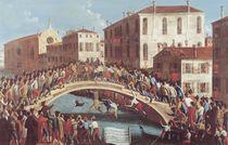 Battle with Sticks on the Ponte Santa Fosca von Gabriele Bella