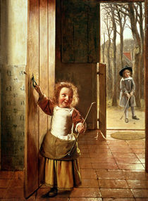 Children in a Doorway with 'Colf' Sticks von Pieter de Hooch