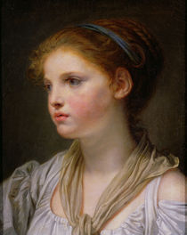 0irl with a Blue Ribbon  von Jean Baptiste Greuze