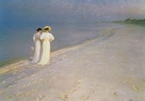 Summer Evening on the Skagen Southern Beach with Anna Ancher and Marie Kroyer von Peder Severin Kroyer