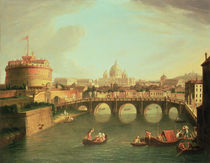 A View of Rome with the Bridge and Castel St. Angelo by the Tiber  von Gaspar van Wittel