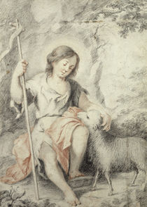 The Young John the Baptist with the Lamb in a Rocky Landscape  by Bartolome Esteban Murillo
