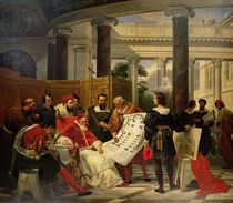 Pope Julius II ordering Bramante by Emile Jean Horace Vernet